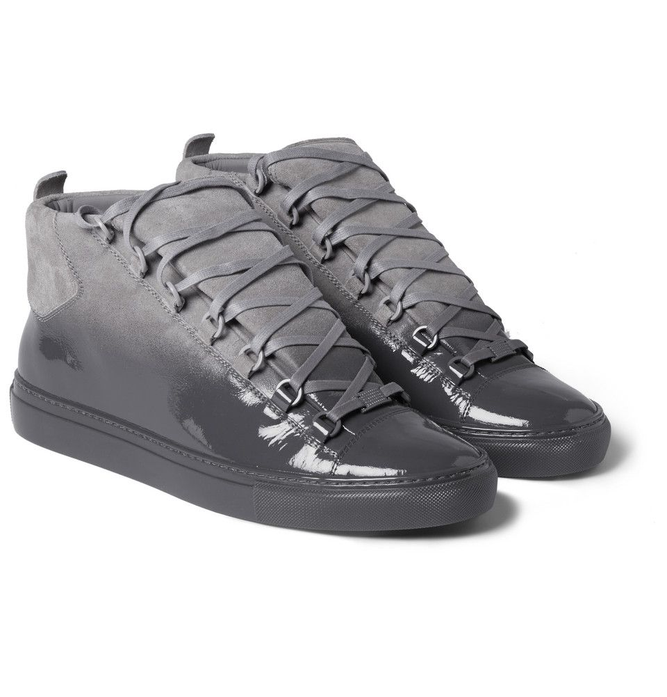 ed158359f91c Balenciaga - Arena Glossed-Suede High Top Sneakers