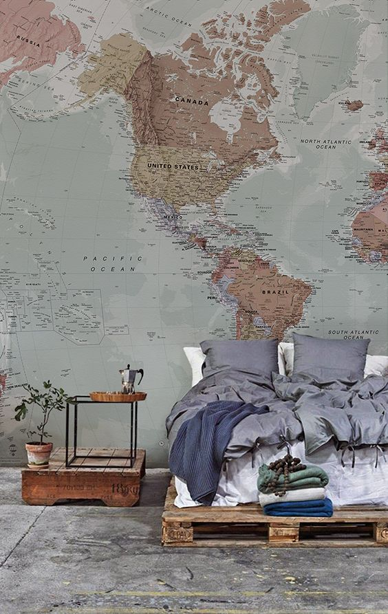 Classic world map wallpaper stylish map mural muralswallpaper classic world map wallpaper stylish map mural muralswallpaper pinterest camas recamara y mapas gumiabroncs Gallery