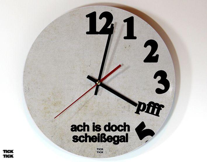 Ticktick Design Wanduhr Scheissegal Von Heyhey Auf Dawanda Com