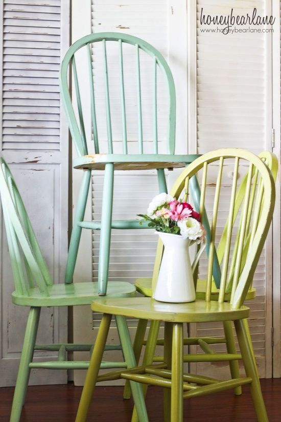 Old Wooden Dining Room Chairs ombre windsor chairs | paint furniture, kitchens and house
