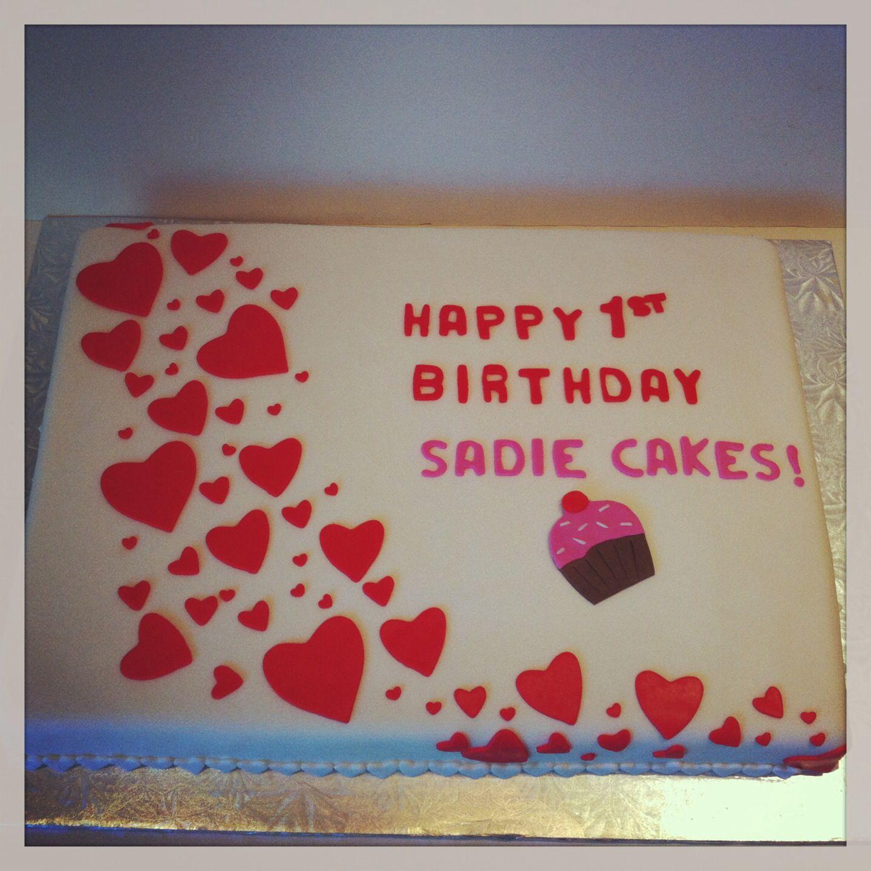 Hearts 1st Birthday cake Happy 17th birthday, 1st
