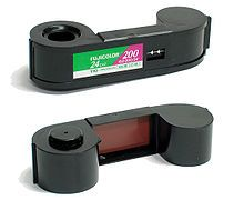 Film cartridge from my first camera. I'm sure most of them still sit undeveloped in a drawer at my parents' house :)
