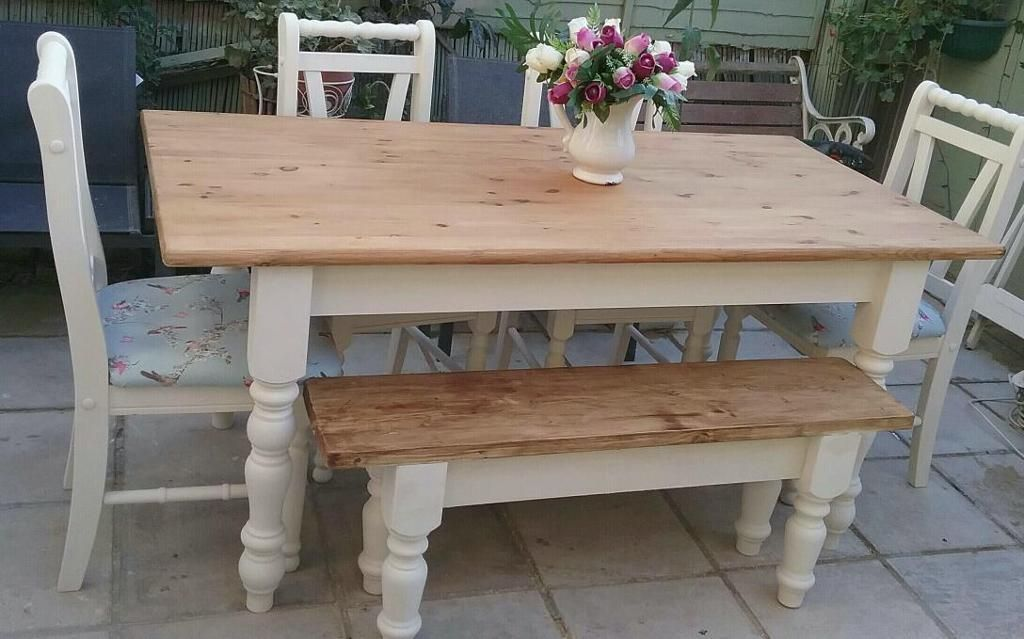 Shabby Chic Solid Pine Farmhouse Table 4 Chairs And Bench Cream United Kingdom Gumtree Farmhouse Table Dining Table Chairs Table