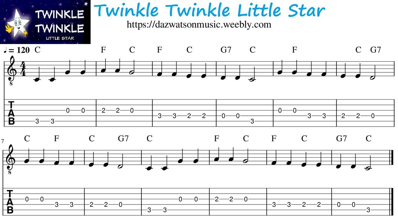 how to play twinkle twinkle little star on guitar chords