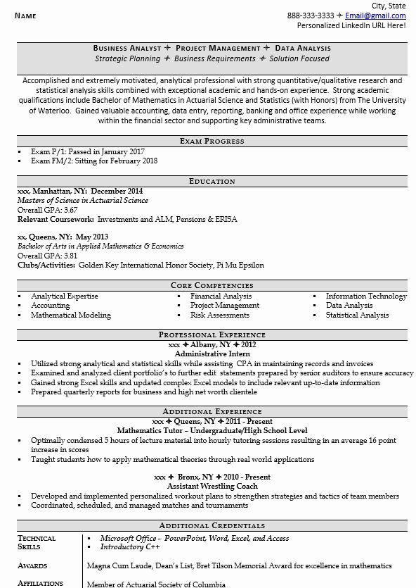 entry level data analyst resume lovely actuarial analyst