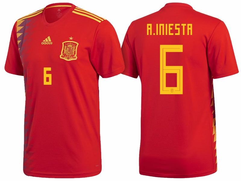 Spain 2018 World Cup Home Jersey Shirt andres iniesta  bc584cb80