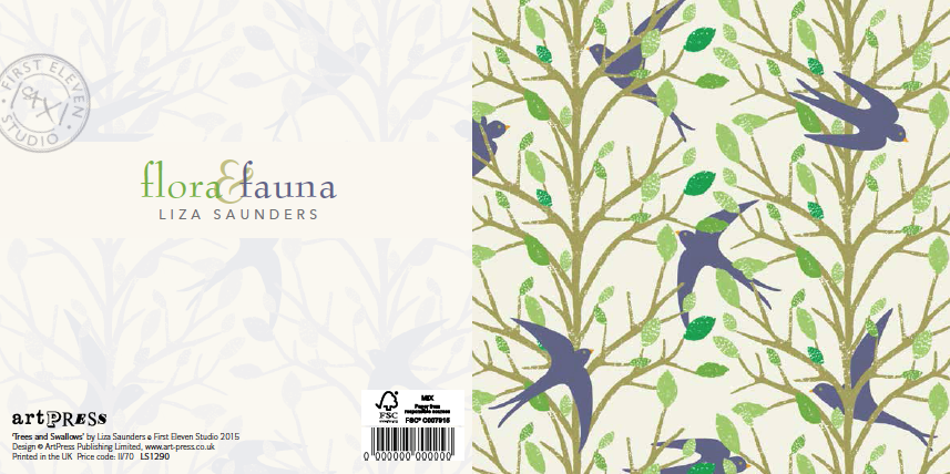 Trees and Swallows by Liza Saunders, wallet published by ArtPress