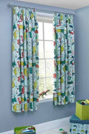 Buy Dylan The Dinosaur Blackout Pencil Pleat Curtains From
