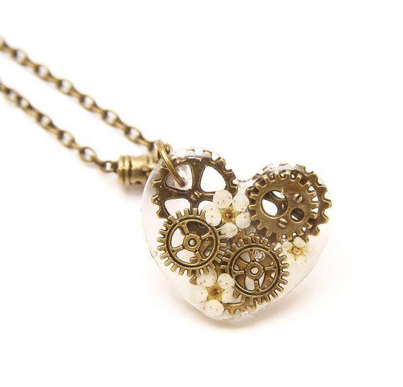 Clockwork Heart in Bronze gears and dried flowers in by TaimatTea