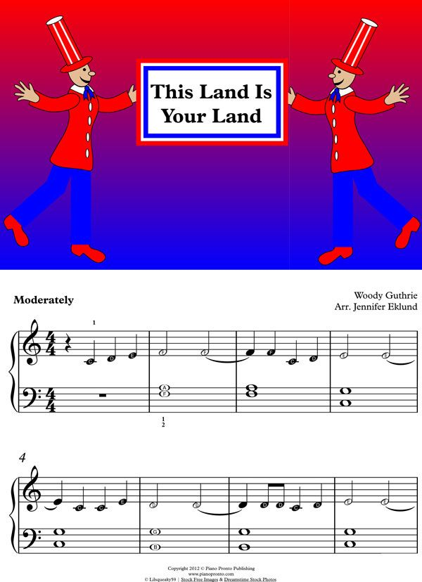 Free Sheet Music This Land Is Your Land Simple Intervals Hands