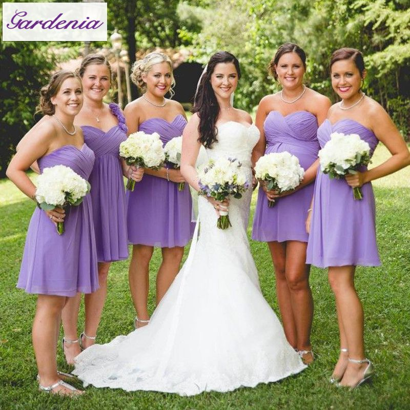 Summer Style Lavender A-line Wedding Party Gowns Draped Knee Length ...