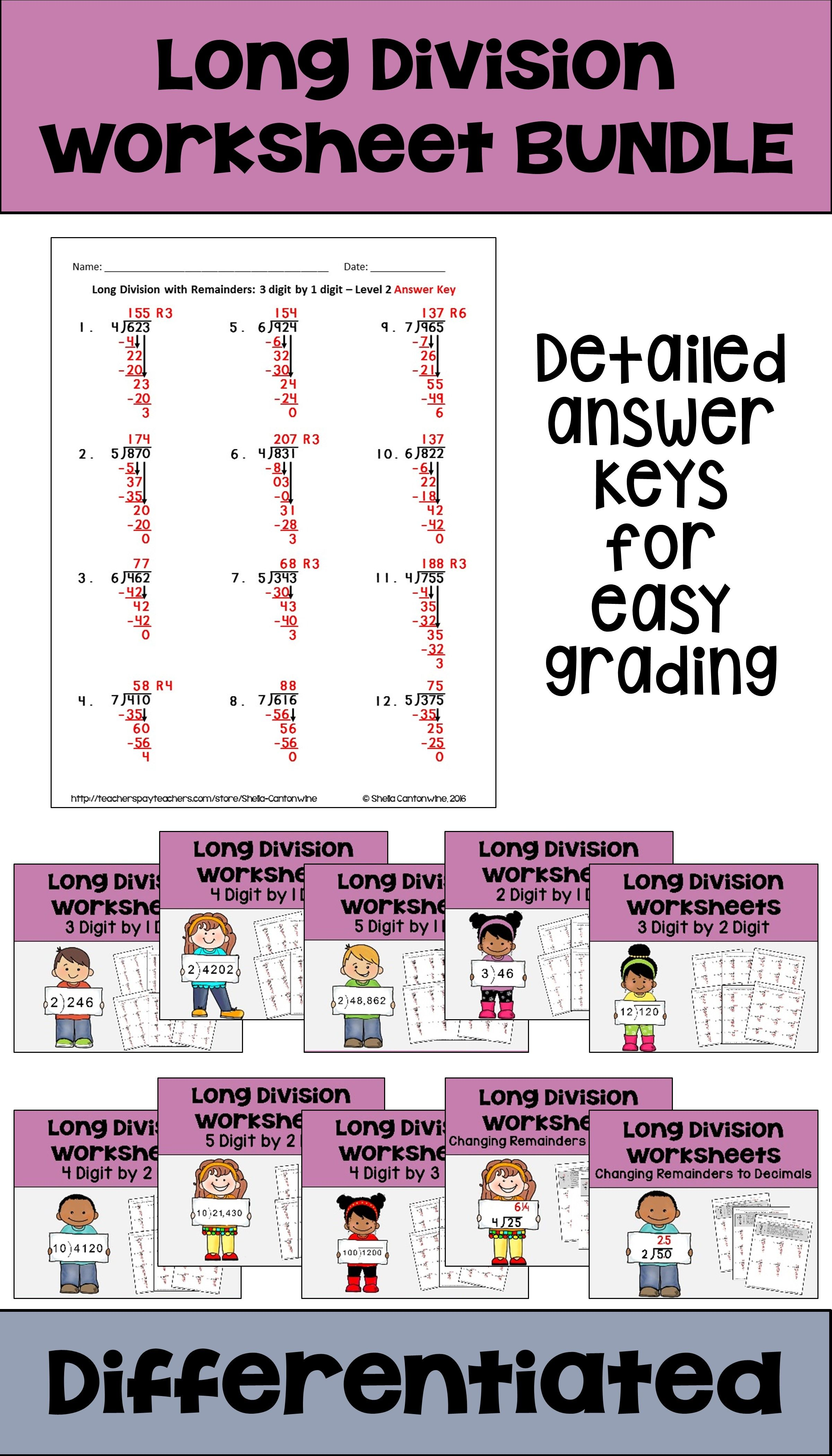 long division worksheet bundle differentiated with detailed answer keys differentiated math. Black Bedroom Furniture Sets. Home Design Ideas