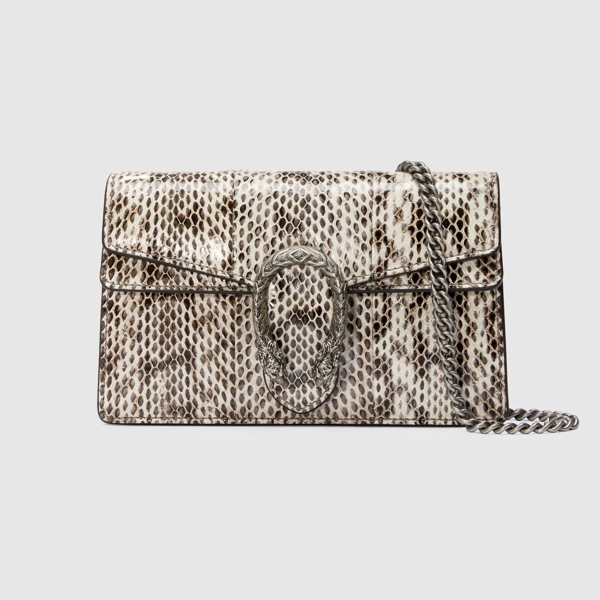1b74b10fd35d Shop the Dionysus super mini leather bag by Gucci. Made in resistant  textured leather, the structured Dionysus super mini bag is completed with  a tiger head ...