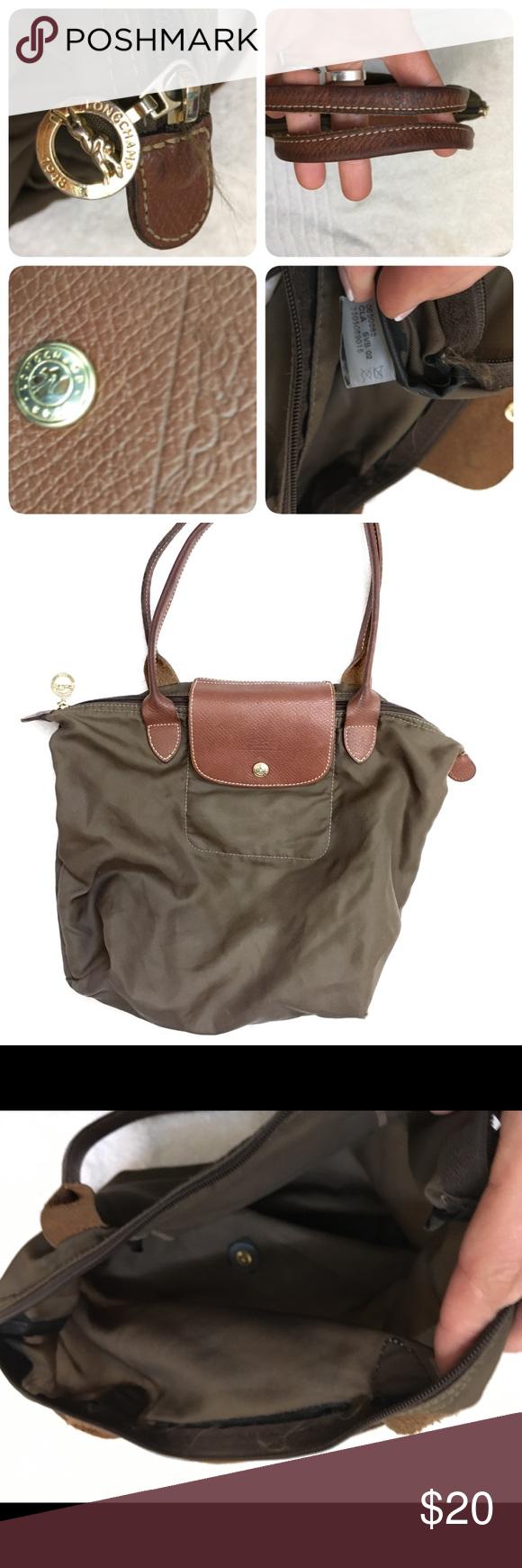 237f6bedce0c Longchamp Le Pliage Nylon Shopper Medium Brown This is a brown dark olive  green Le