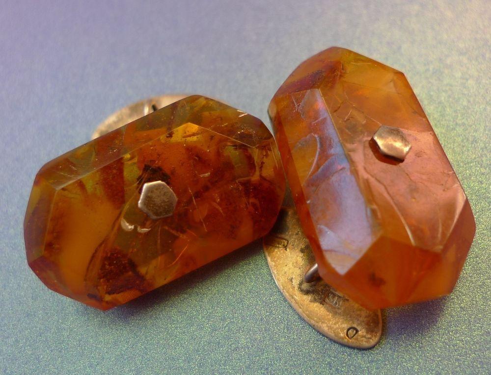 Vintage USSR jewelry Baltic Amber gemstone Silver 875 men CUFFLINKS 8 gr