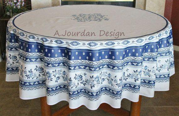 Avignon White Blue Round Cotton French Table Cloths Marat French
