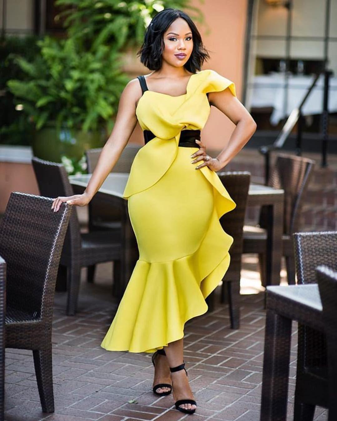 Sarah Jakes Roberts Maxi Dress Party Yellow Bodycon