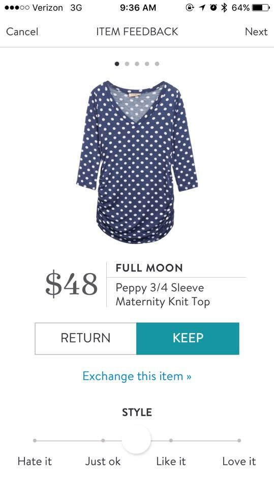 Love polka dots, love 3/4 sleeves, but would love even more if this was in a color that's not navy, grey or black.