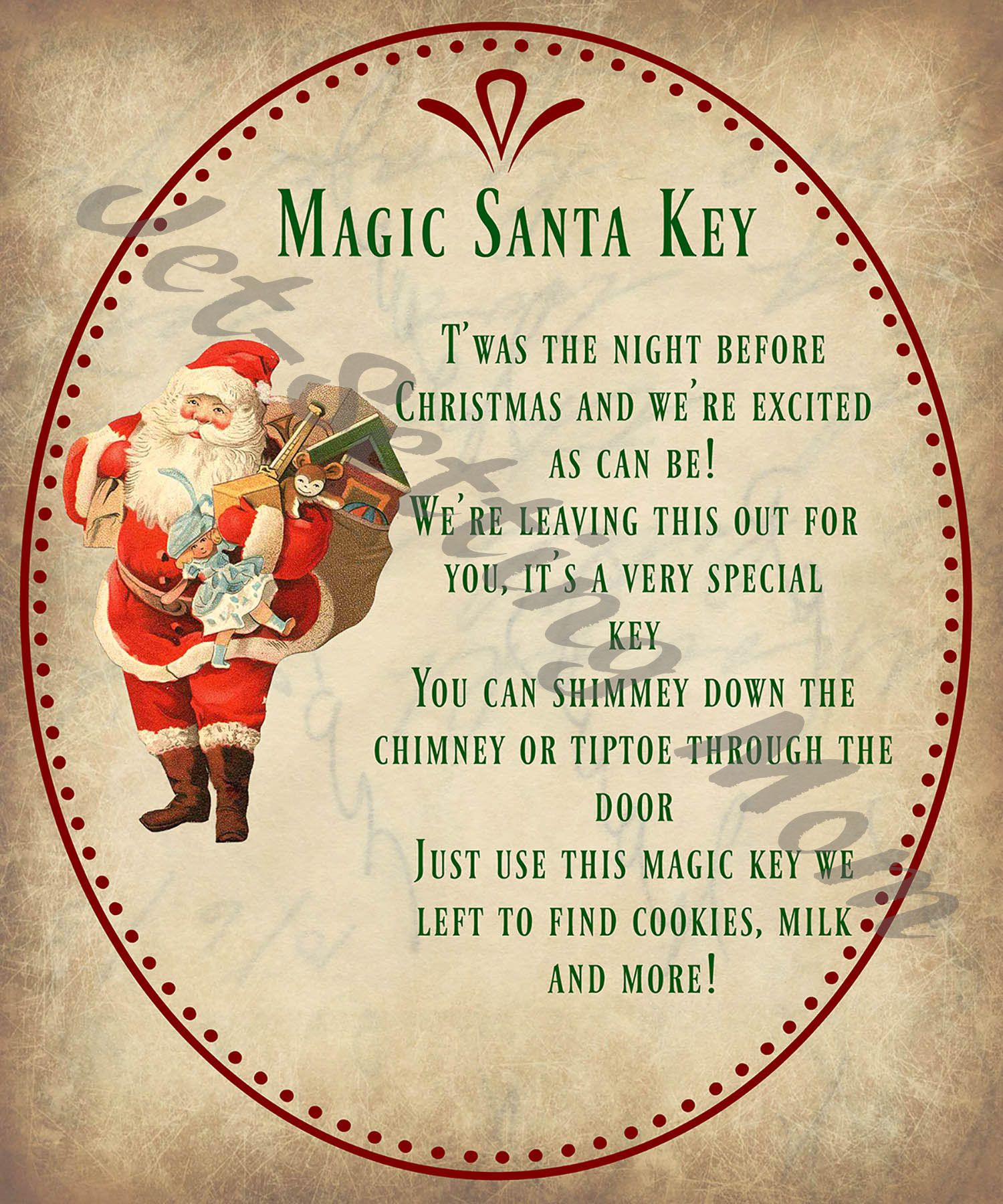 SantaS Magic Key Poem Cute For If You DonT Have A Chimmy Or Are