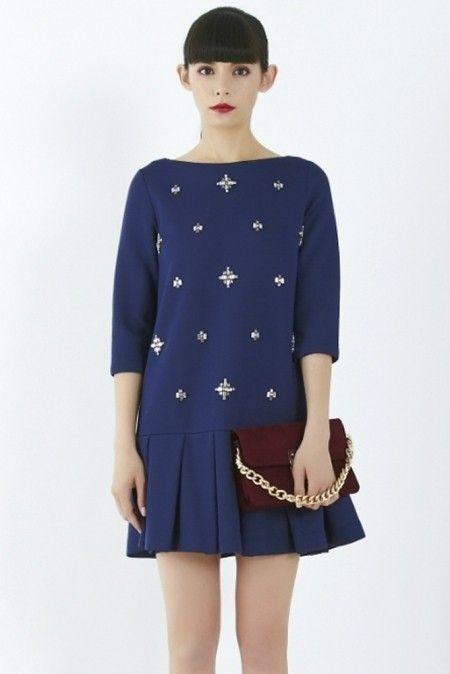 31f771d975717 LagunaMoon ボンディングビジューワンピース   bijou blue dress on ShopStyle