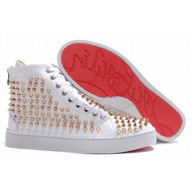 Christian Louboutin Louis Gold Spikes Men Sneakers White