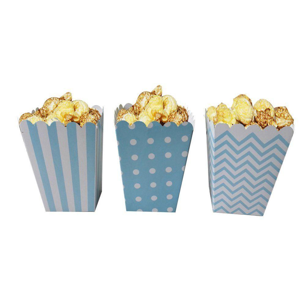 Blue Popcorn Favor Boxes; Tiffany Themed Shower; Gender Reveal Baby ...