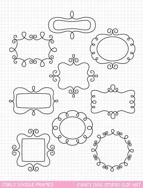 Doodle Frame Clip Art, Frame Clipart, Digital Borders, Clipart ...