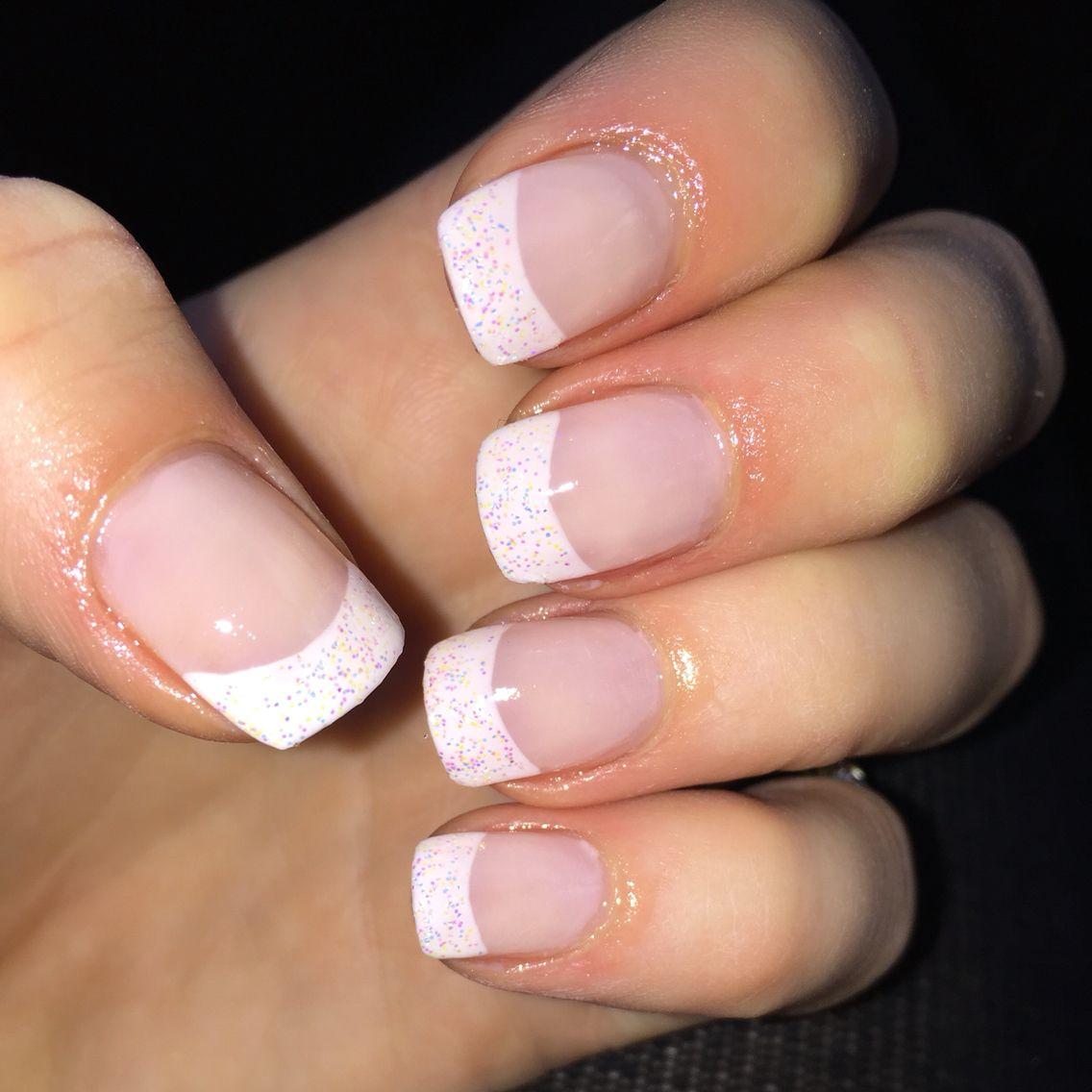 Glitter tip nails, French manicure, natural, nail design, nails ...