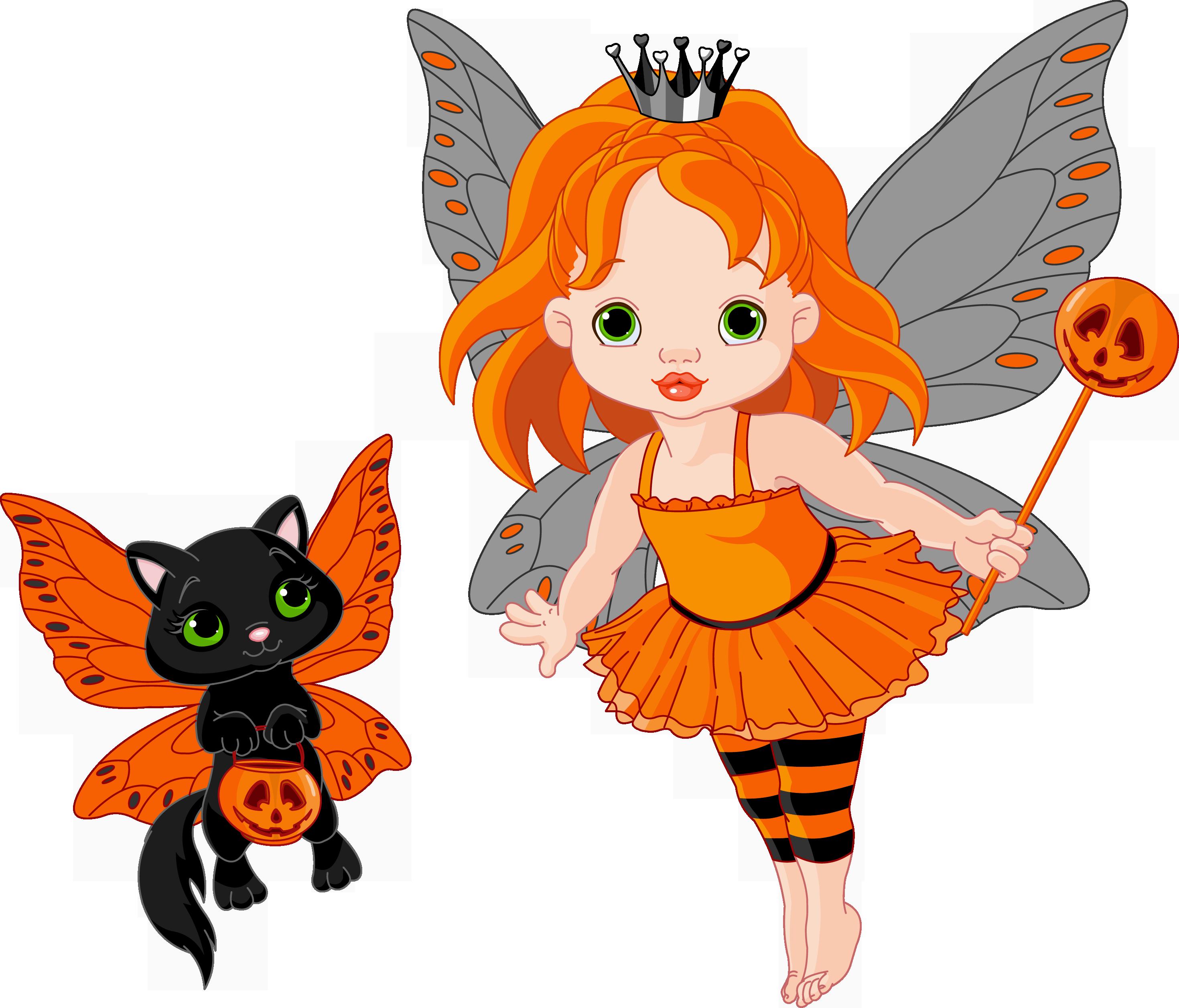 transparent halloween fairy and cat 0 cliparts - clipartix