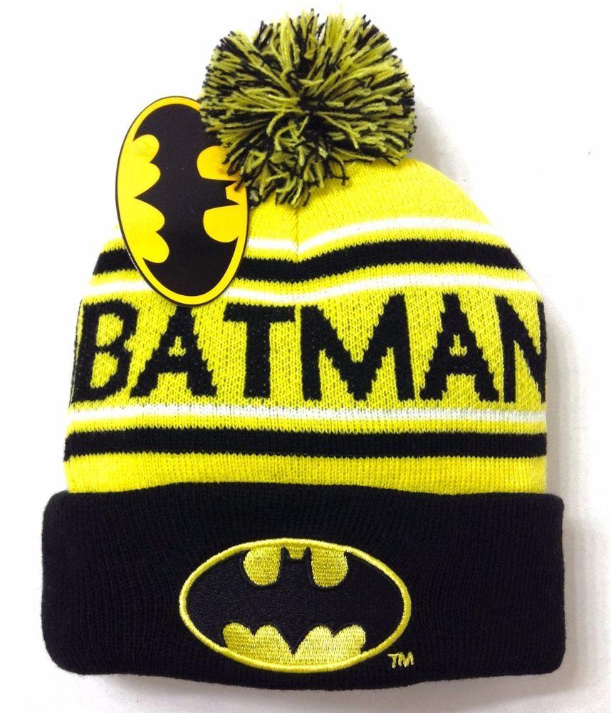 super popular d1a06 e239b New Nwt BATMAN POM BEANIE Yellow Black Cuffed Winter Knit Ski Hat Men Women Teen   DCComics  Beanie