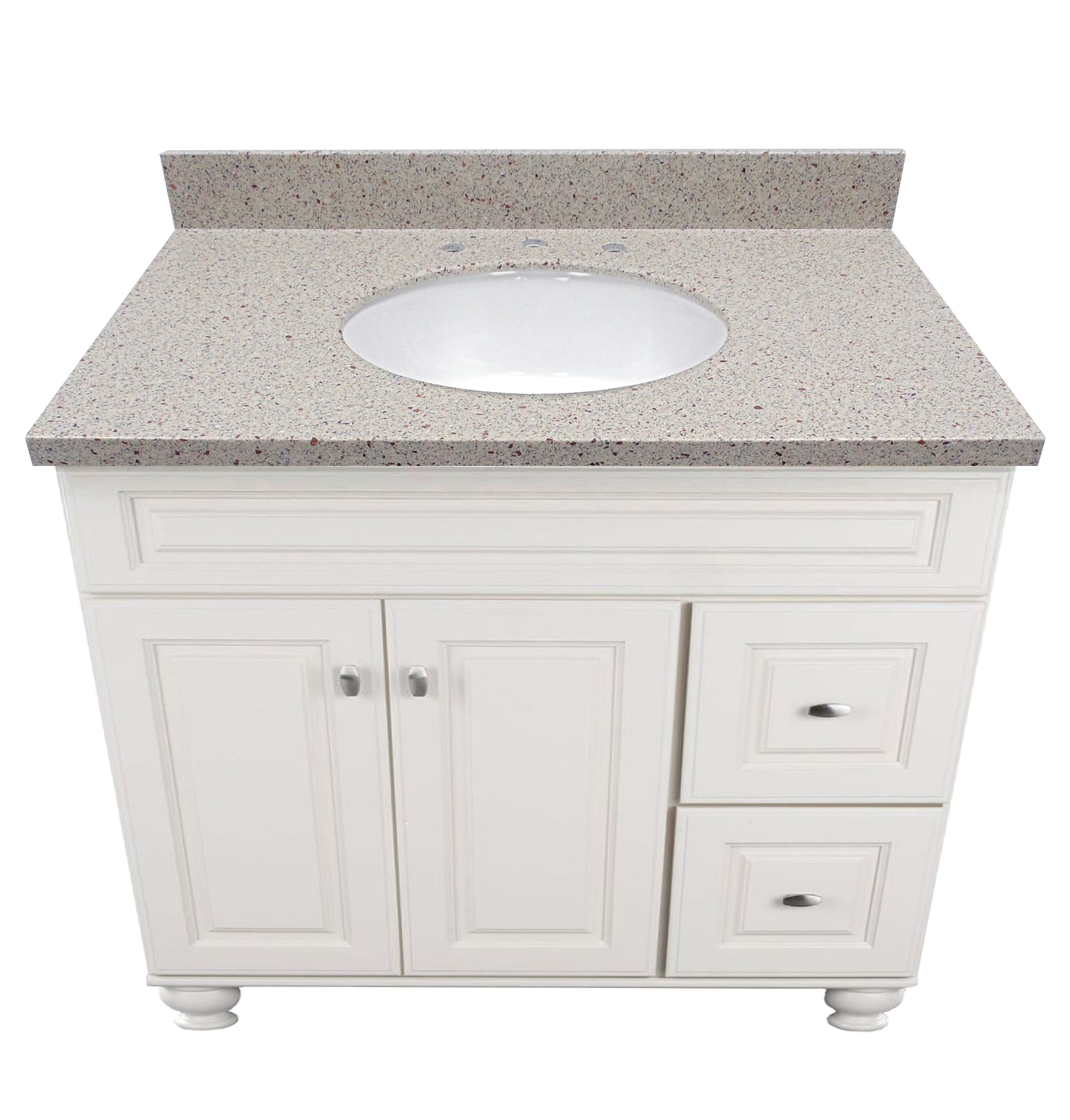 Evercor Solid Surface Vanity Top Shown In Knottingham With White