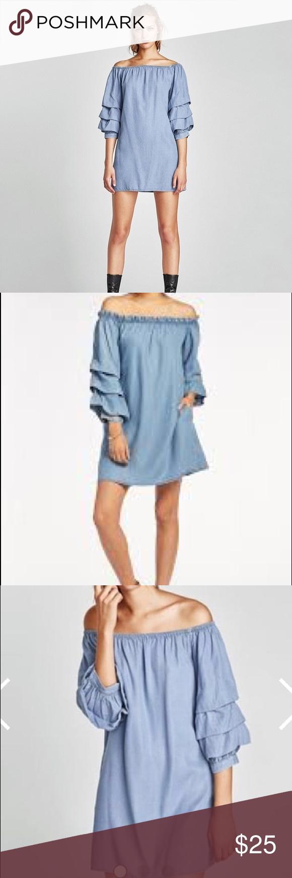 Zara Dress Denim Ruffle Dress Beige Mini Dresses Leather Shirt Dress [ 1740 x 580 Pixel ]