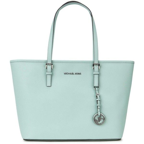 Womens Tote Bags Michael Kors Jet Set Travel Mint Leather Tote ...