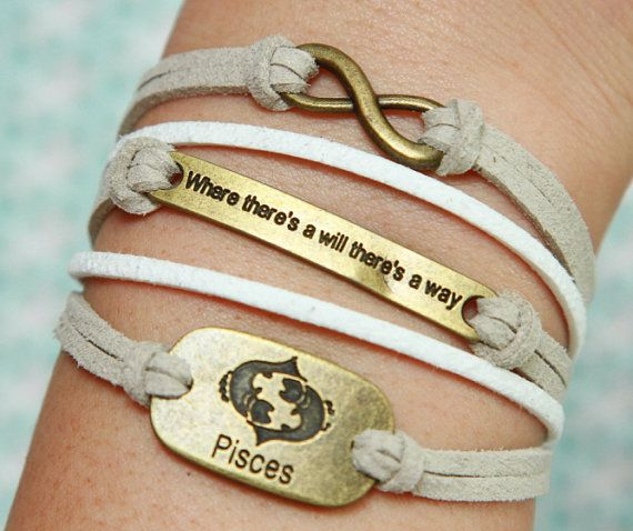 Karma Bracelet Bronze Will Pisces Grey Flocking White Braided Leather Friendship Best Gift