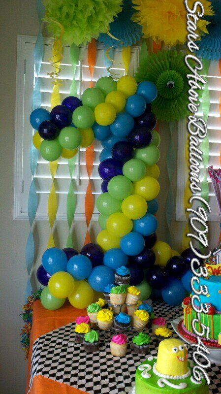 1st birthday framed number made out of balloons things