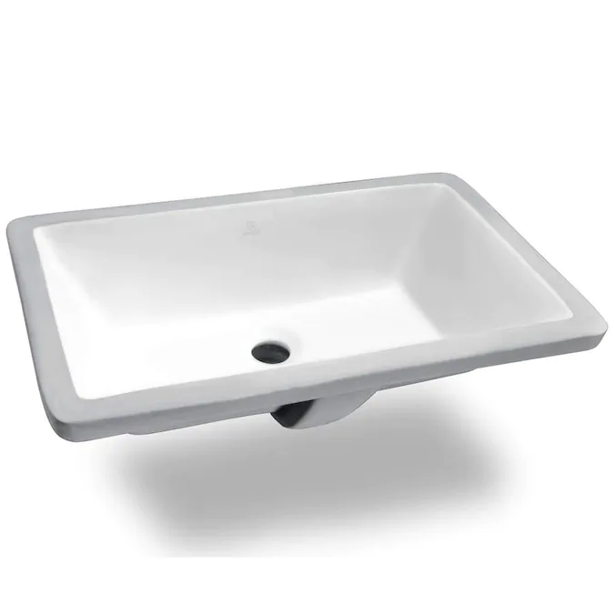 Anzzi Rhodes White Ceramic Undermount Rectangular Bathroom Sink With Overflow Drain 21 In X 13 375 In Lowes Com In 2021 Rectangular Sink Bathroom Sink Ceramic Undermount Sink