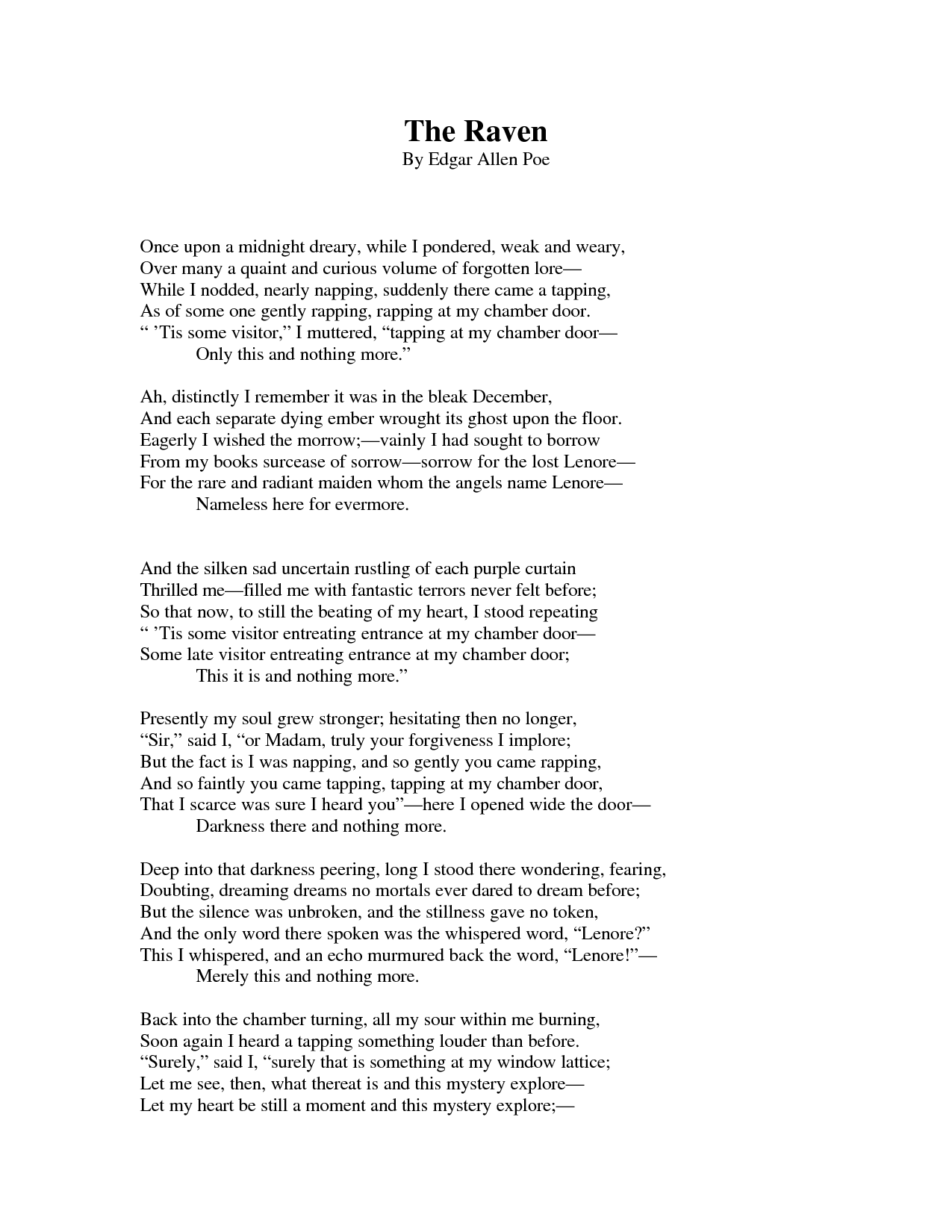 The Raven Poemysis Of The Raven By Edgar Allan Poe