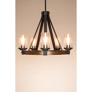 Kichler Barrington 5-Light Distressed Black and Wood Tone Rustic Clear Glass Candle Chandelier at Lowes.com #kronleuchterauseinmachgläsern