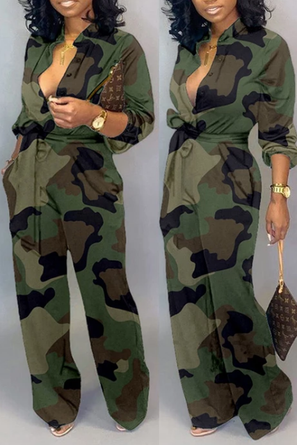 $29.99 PansyGal Camouflage Turndown Collar Jumpsui