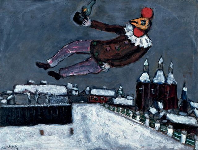 """Rooster Man Above Vitebsk"" (1925) by Marc Chagall. The oil painting, private collection"