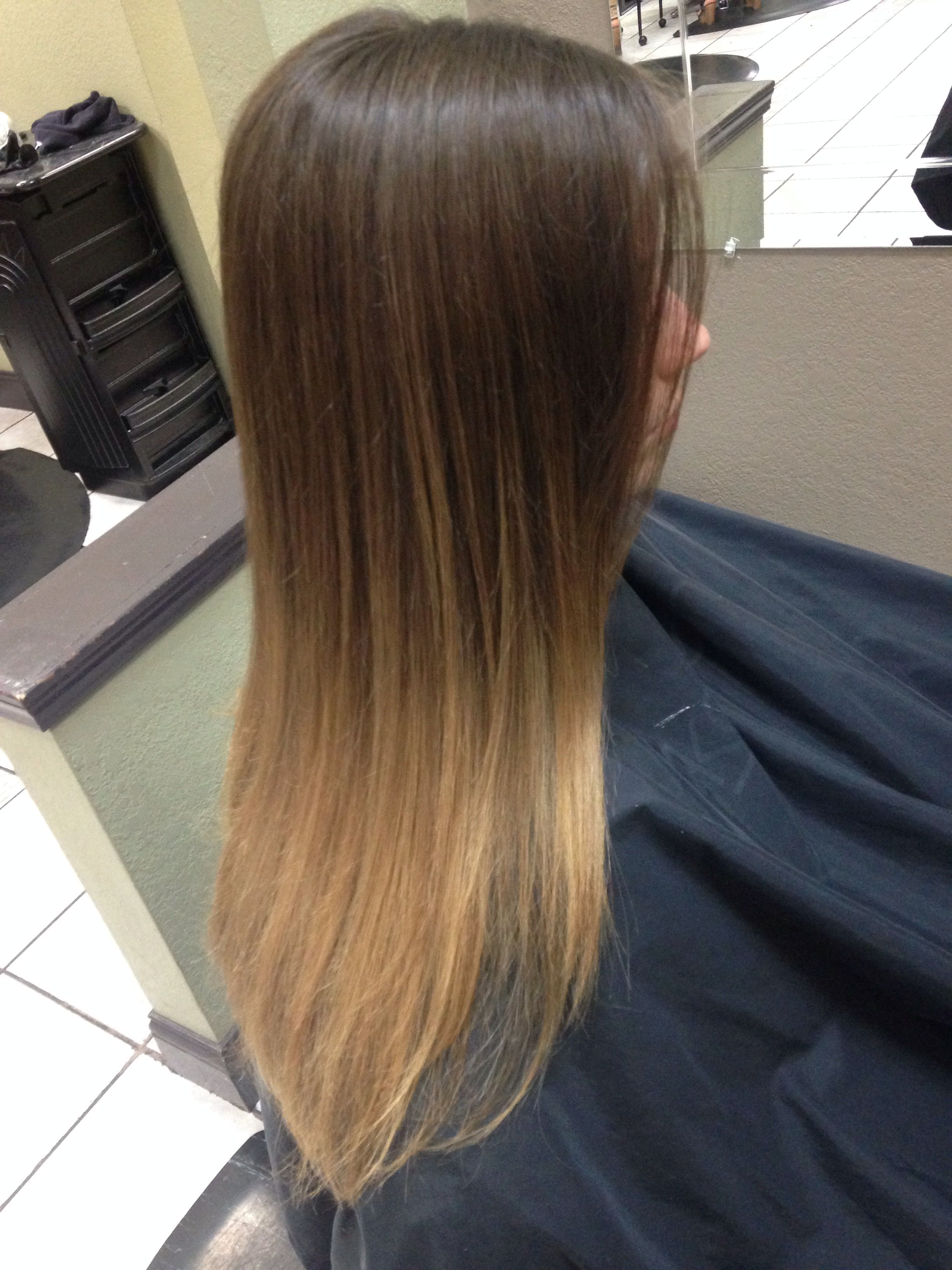 Straight hair ombré balayage. Brunette brown blonde. Long