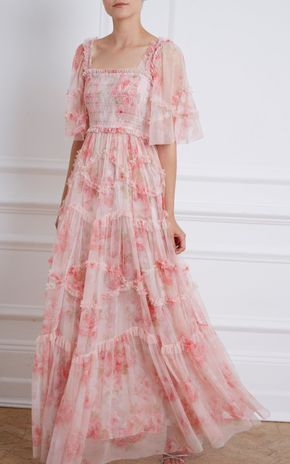 Ruby Bloom Draped Tulle Maxi Dress by Needle & Thread | Moda Operandi