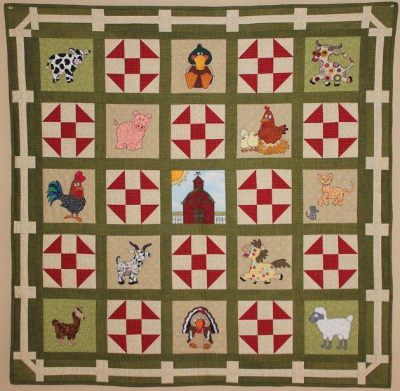 Farm PDF quilt pattern; Farm animal appliques; churn dash block ... : farm quilt patterns - Adamdwight.com