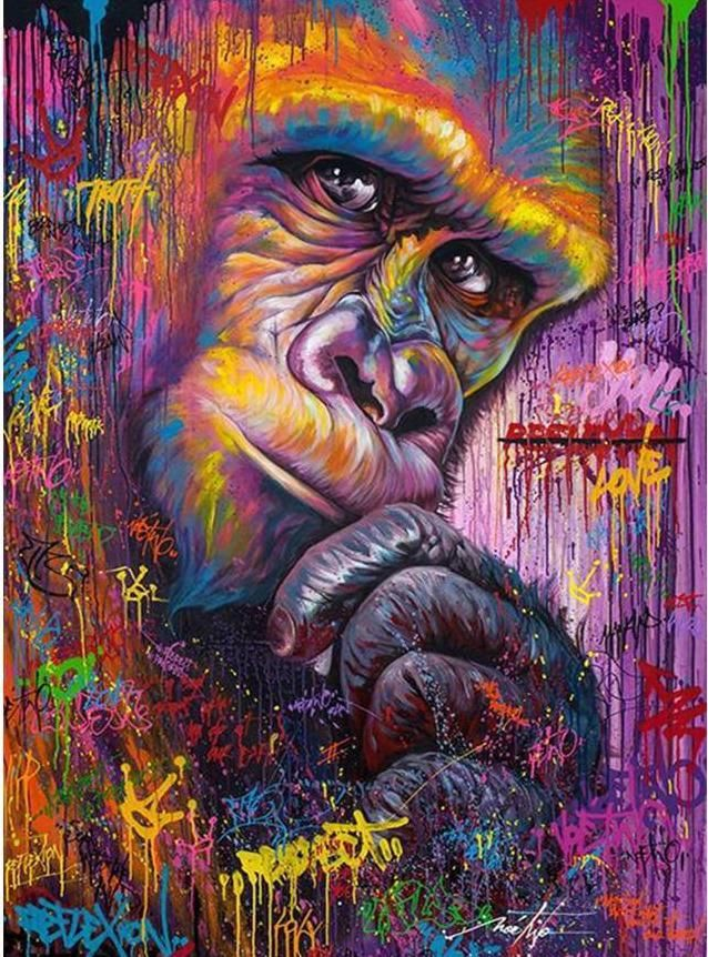 Oil Painting Style Bedazzled Monkey 5d Diy Diamond