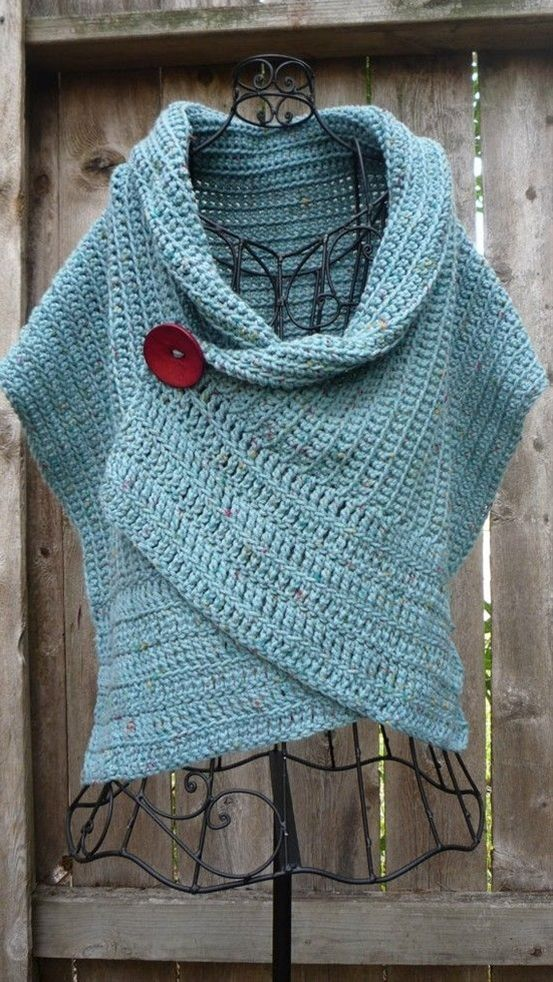 Pattern for buttoned crocheted wrap | Tejido, Ganchillo y Ponchos