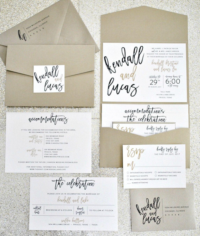 Kendall Calligraphy Pocketfold Wedding Invitation by lvandy27