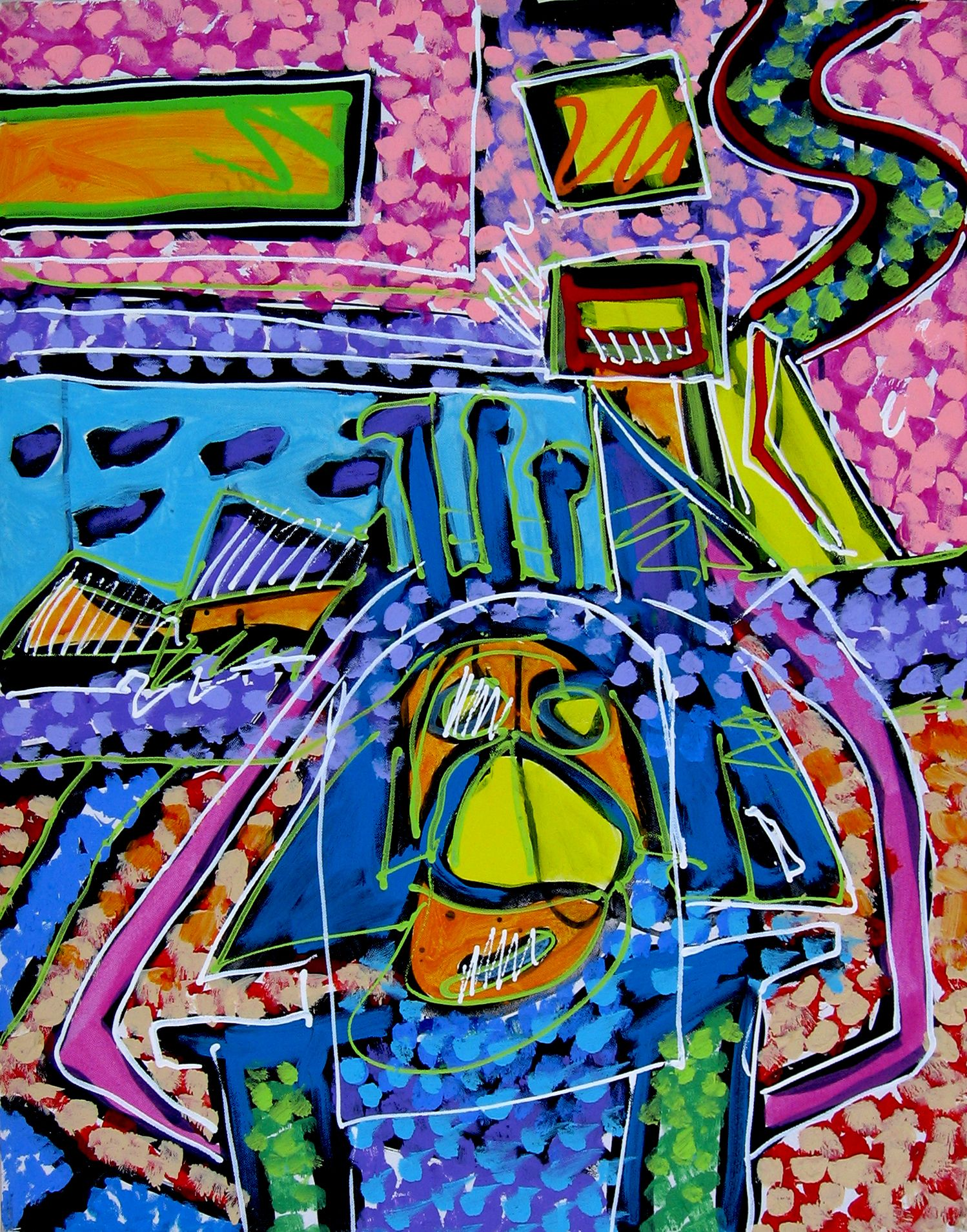 "XERADO: ""The Harlequin's Egyptian Vacation"" - Media: Acrylic on canvas - Size: 24"" w x 30"" h - 61 cm x 76.2 cm"