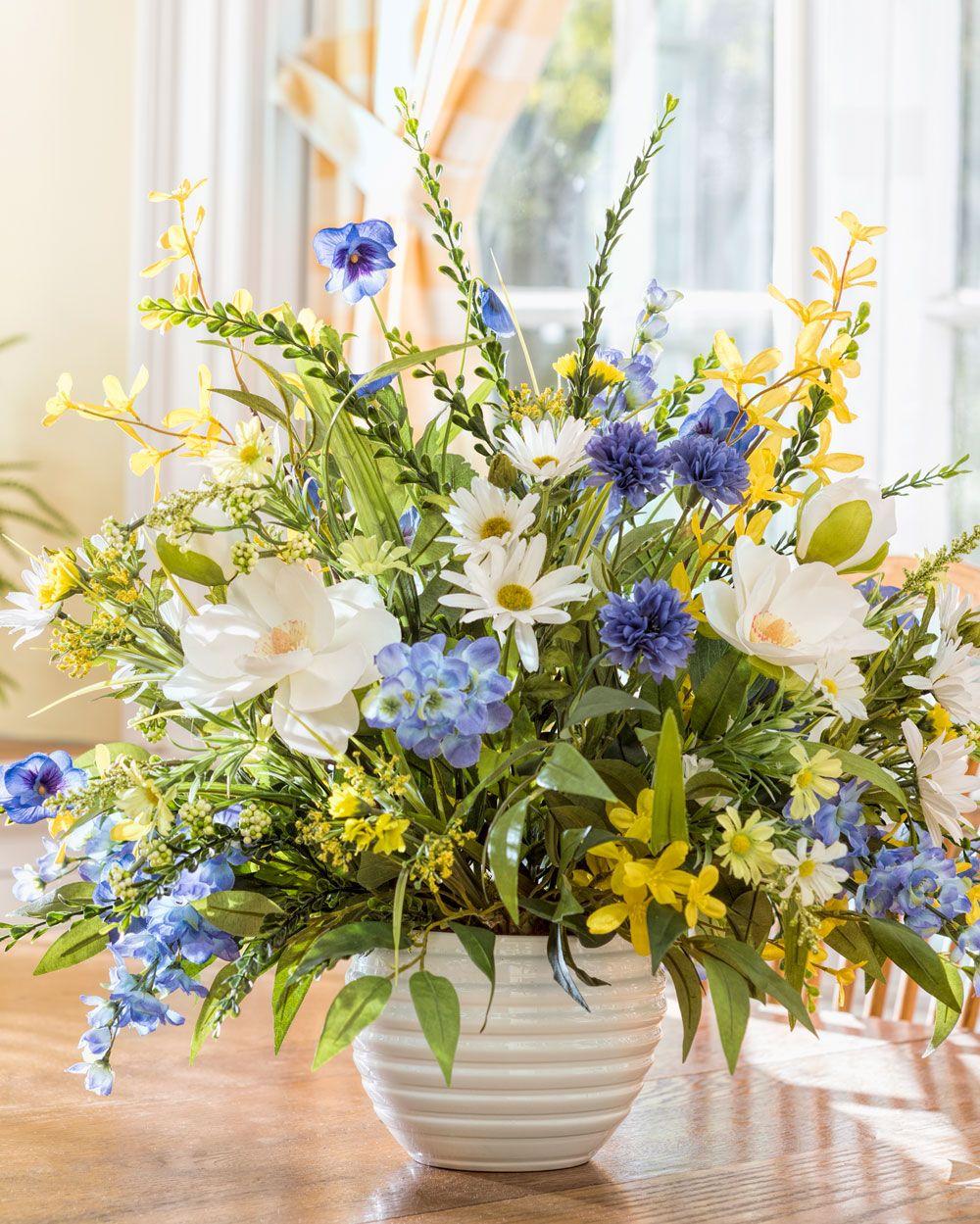Magnolia Larkspur Daisybrsilk Flower Arrangement Mixed Soft