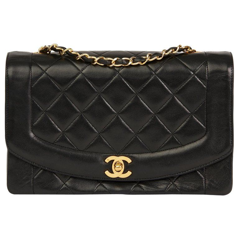 6d07ffbf57f876 1990 Chanel Black Quilted Lambskin Vintage Medium Diana Classic Single Flap  Bag