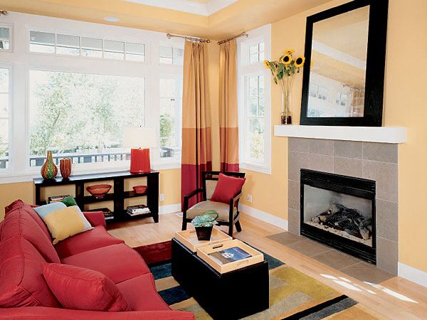 Red Couch Light Yellow Accent Wall Yellow Living Room Yellow Decor Living Room Red Couch Living Room
